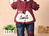 批发韩版0-3岁女童装 童套装 冬款童裤童装 冬款童套装冬加厚绒