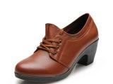 沈威 秋季新款 牛皮系带粗跟妈妈鞋 中老年女鞋 老人鞋 礼品鞋