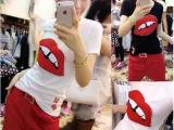 韩版时尚短袖红唇T+宽松七分休闲套装 送腰带