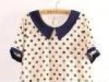 130-0089日单外贸圆点蕾丝拼接雪纺假两件连衣裙 售完为止