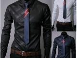 外贸EBAY热卖   精品韩国进口面料 暗纹斜纹 男士长袖衬衫