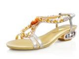 2014夏季新款女鞋凉鞋欧美时尚彩钻水钻粗跟凉鞋甜美百搭淑女鞋