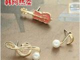韩国饰品 韩网热卖 红色小提琴跳动的音符耳钉耳针耳饰 时尚耳钉