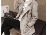 秋冬女装新款 韩国原版羊毛呢外套双排扣呢气质女外套呢子大衣