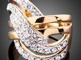 外贸出口 地摊饰品批发 欧美高档时尚饰品 镶嵌水钻戒指指环 女款