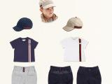 欧美大牌儿童套装男童夏季休闲三件套纯棉T恤短裤鸭舌帽一件代发