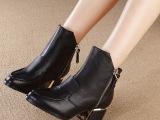 欧洲站2014秋冬新款尖头真皮短筒女靴时尚粗跟女士马丁靴 女靴子
