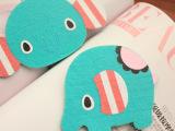 薄荷绿小象/大象杯垫 毛毡布料杯垫 隔热垫 马戏团