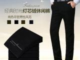 供应2014冬季男式灯芯绒面料加绒休闲裤中年高腰型直筒裤一件起批