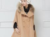 2013秋冬新款韩版斗篷毛呢大衣 女呢子大衣 中长款毛呢外套批发