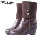 反季促销冬季女鞋头层牛皮中筒靴充电发热暖