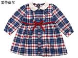 特价清仓春季新款童装女宝格子长款衬衫系带翻领长袖纯棉裙子代发