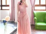 2014夏 粉色雪纺大摆长连衣裙背心长裙波西米亚风格沙滩裙