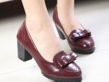 春鞋复古英伦女鞋子 浅口蝴蝶结粗跟鞋圆头中跟女单鞋批发B65-7
