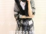秋冬韩版貉子毛带帽斗篷正品纯羊毛时尚英伦风格子加厚保暖大披肩