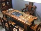 云浮老船木茶桌椅组合仿古泡茶桌中式明清家具
