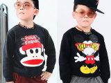 一索 韩版新款潮牌男童儿童卫衣单件加厚 黑色米奇圆领加绒童装