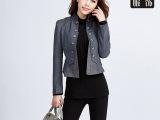 小西装女2014韩国春秋新款复古立领短款修身拼皮小外套西服女款潮