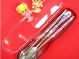热销~餐具便携盒装半花圆筷子 勺子套装  90g 礼品餐具套装