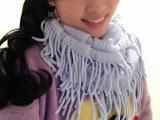 韩国秋冬天女士围巾毛线围脖 保暖套头 纯色流苏脖套批发