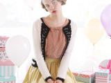 秋季新品2014新款镂空蕾丝毛衣 韩版撞色纯色针织衫外套L610