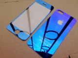 iphone6全覆盖电镀钢化膜 苹果6彩色钢化膜 镭射电镀钢化玻