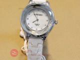新品白色陶瓷手表批发厂家直销防水正品石英女表水钻圆形表盘爆款