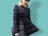 2014大摆娃娃棉衣女中长款毛领棉袄 女装服羽绒新款韩国加厚外套