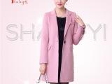2015秋冬新款 女式欧美长袖开衫外套 中长款纯手工羊毛双面尼大