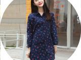 2015春夏衬衫新款 女式连衣裙 夏季 韩版印花中长款长袖女开衫